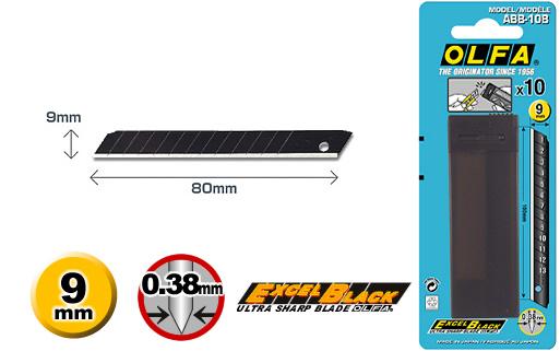 Лезвие OLFA BLACK MAX особо острое 9мм, 10 шт.