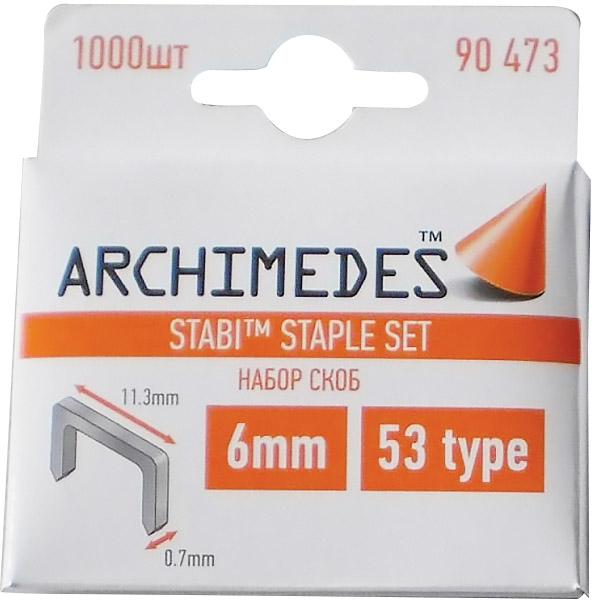Скобы Archimedes Stabi 6мм, 1000шт, тип 53
