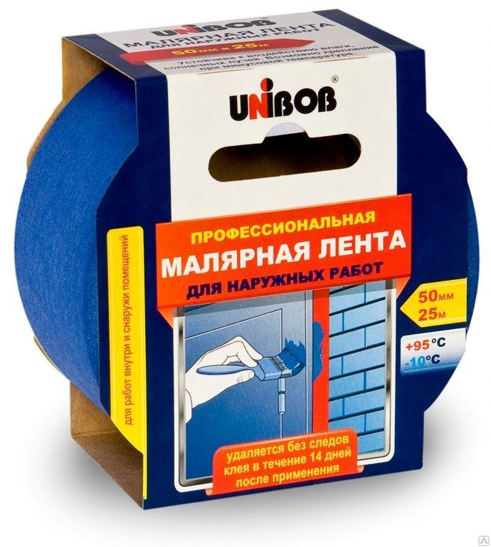 Малярная лента UNIBOB Профессиональная для наружных работ 25мм х25м, с